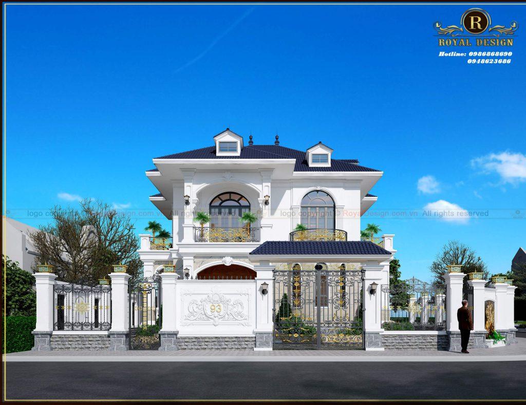 Mặt tiền với kiến trúc độc đáo, cuốn hút mẫu biệt thự tân cổ điển 2 tầng 2 mặt tiền.