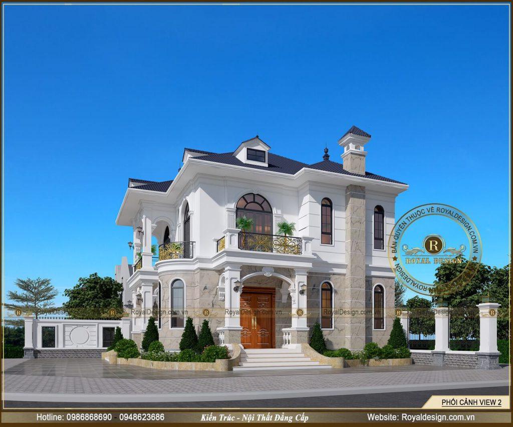 Một view phối cảnh tổng thể 3D chi tiết của mẫu biệt thự 2 tầng tân cổ điển 2 mặt tiền
