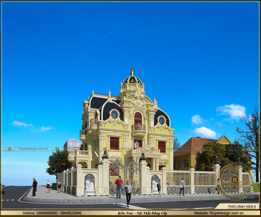 Không gian kiến trúc tân cổ điển của căn biệt thự lâu đài kiểu pháp 3.5 tầng