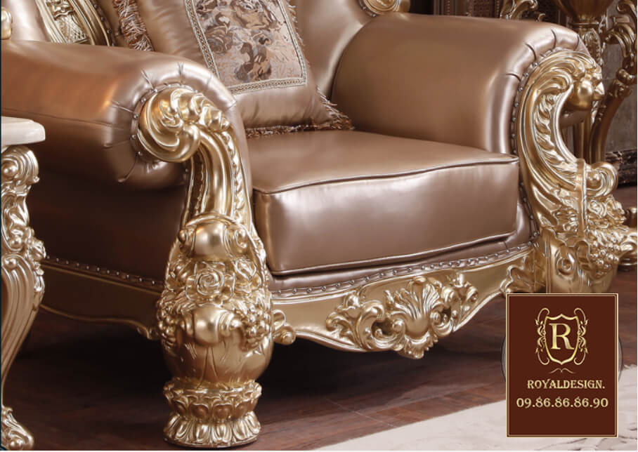 sofa tân cổ điển 031 dát vàng, bọc da công nghiệp hàn quốc, sản xuất trong nước kết cầu chắc chắn