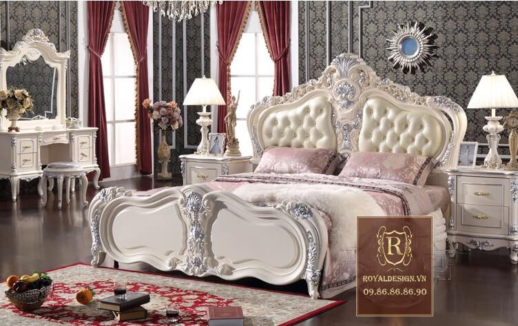 Giường ngủ tân cổ điển trắng ngọc trai 3