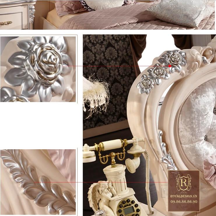 Giường ngủ tân cổ điển trắng ngọc trai 11