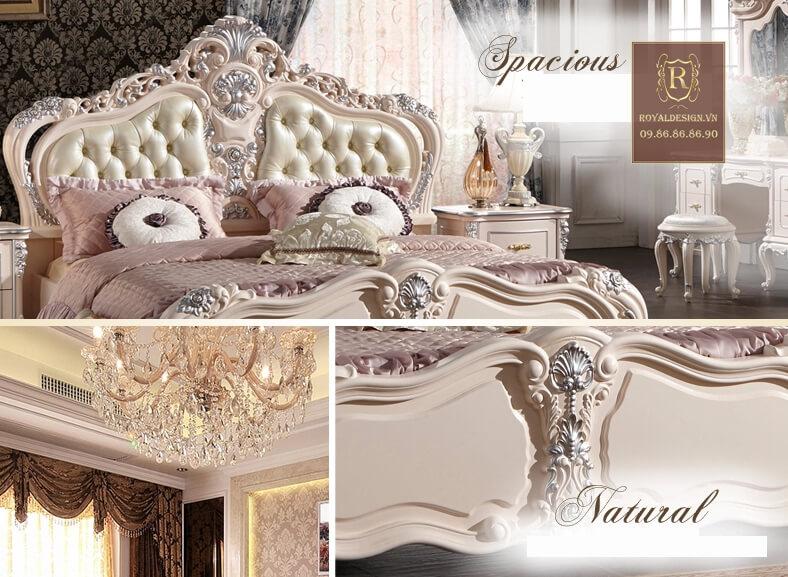 Giường ngủ tân cổ điển trắng ngọc trai 5