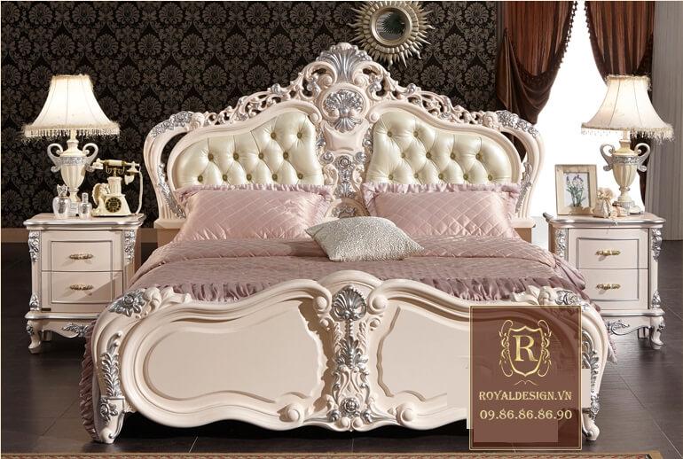Giường ngủ tân cổ điển trắng ngọc trai 2