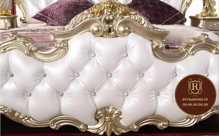Mẫu giường ngủ tân cổ điển màu trắng 026 - ảnh 15
