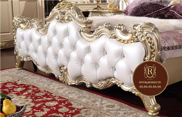 Mẫu giường ngủ tân cổ điển màu trắng 026 - ảnh 14