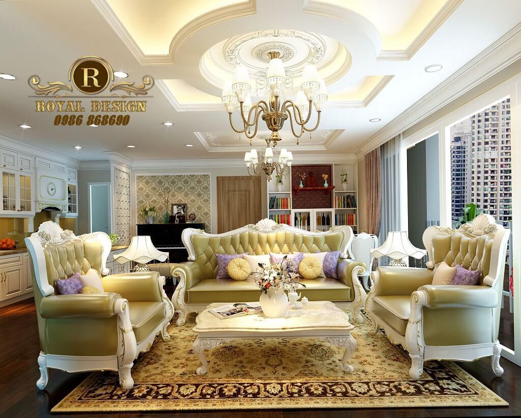 bộ sofa tân cổ điển sơn trắng, chất liệu gỗ sồi 113 màu trắng bọc da