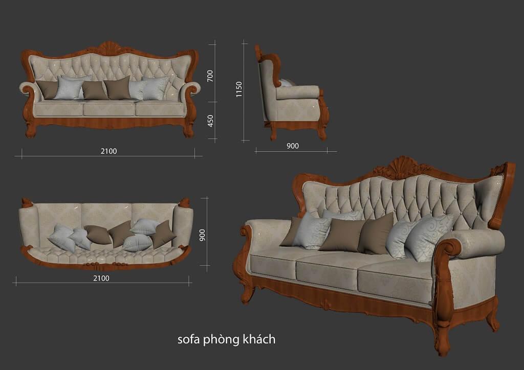 Kích thước ghế sofa 3 tân cổ điển