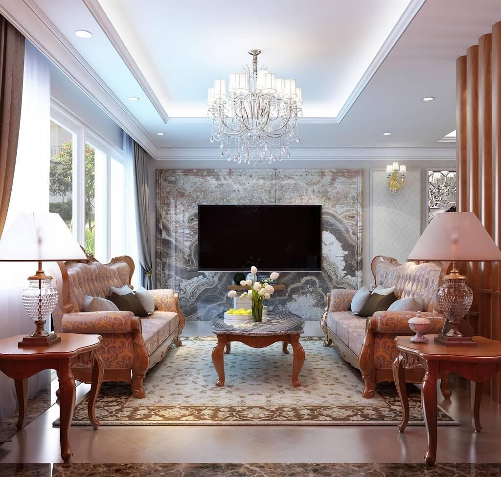 Ghế sofa 3 tân cổ điển màu gỗ bọc nỉ nhập khẩu ý