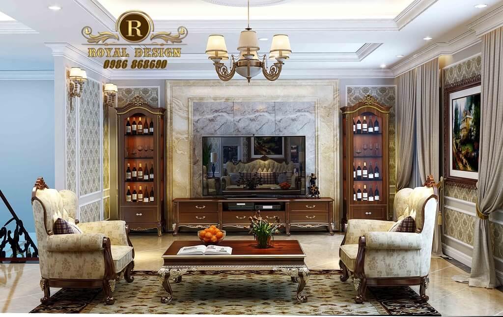 Ghế sofa đơn tân cổ điển màu gỗ 033 dát vàng công nghiệp ý 100%, sản xuất thủ công tại việt nam