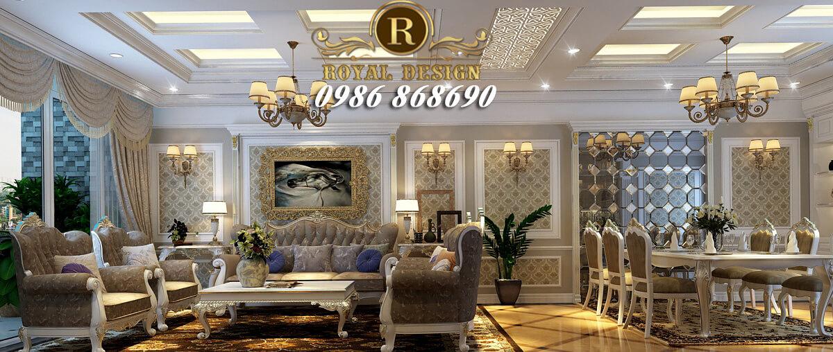 thiết kế nội thất phòng khách tân cổ điển màu trắng nhẹ nhàng chung cư ch1b ct4 vimeco