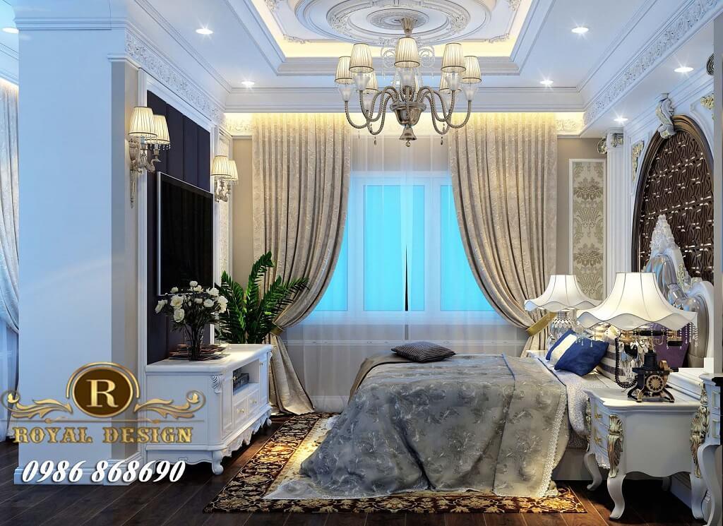 Thiết kế nội thất phòng ngủ master tân cổ điển màu trắng cho chung cư ct4 vimeco 01