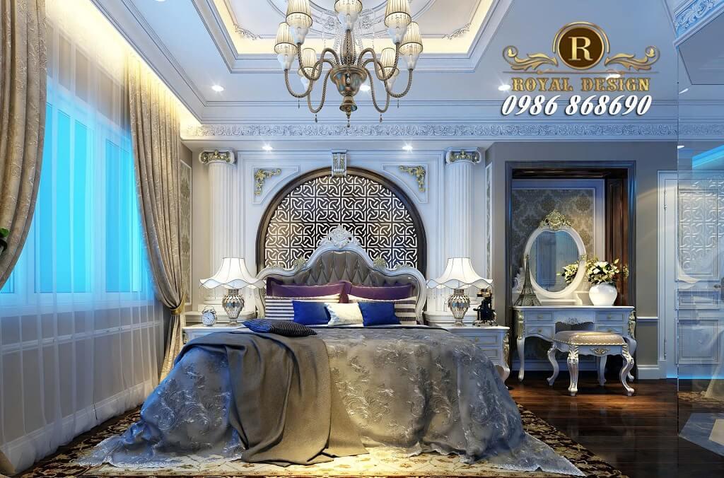 Thiết kế nội thất phòng ngủ master tân cổ điển màu trắng cho chung cư ct4 vimeco
