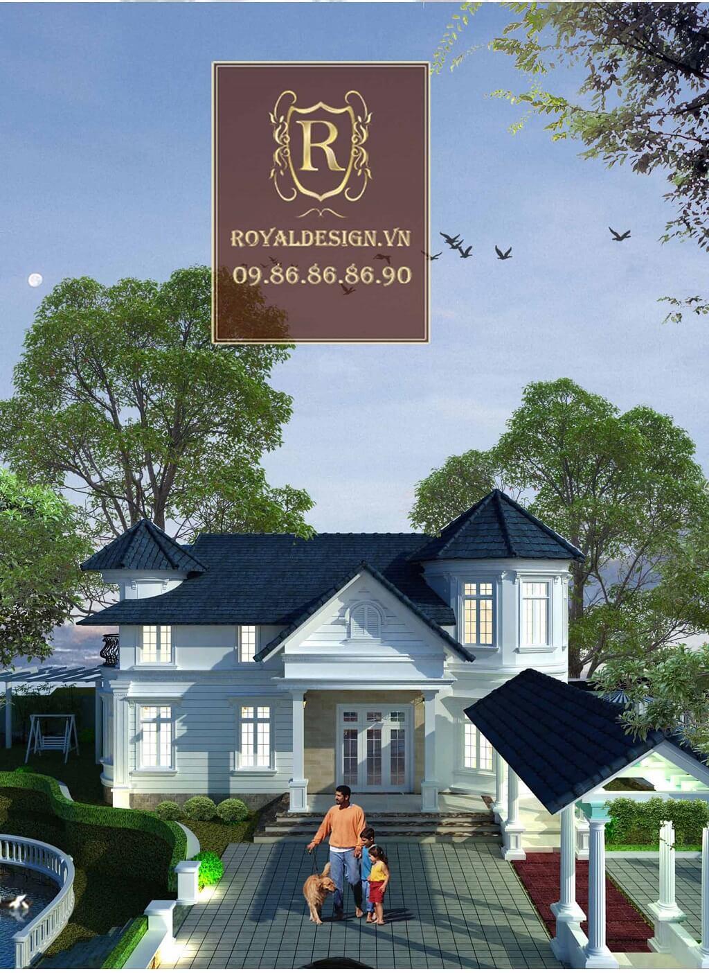 Thiết kế kiến trúc biệt thự nhà vườn 2 tầng theo phong cách châu âu