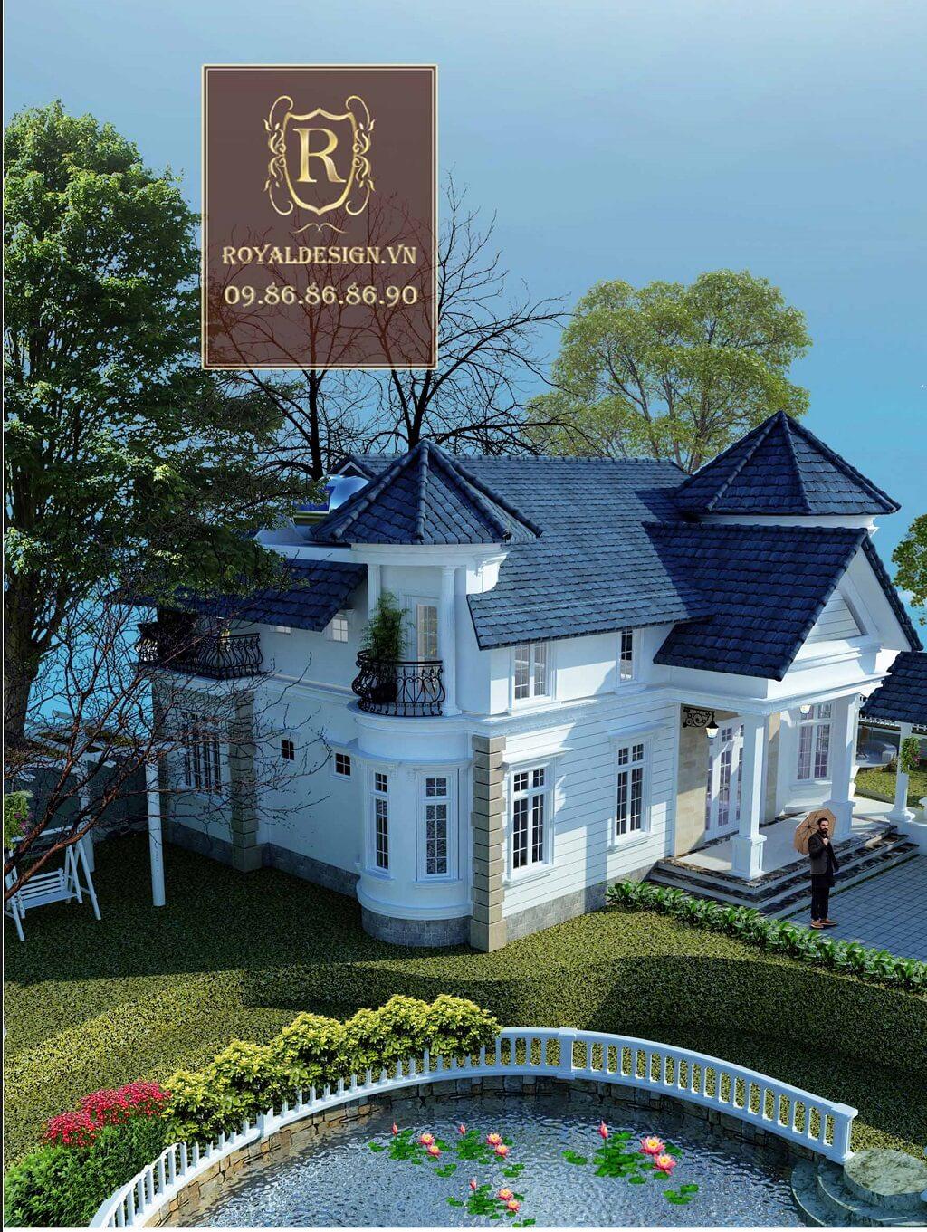 Mãu thiết kế biệt thự nghỉ dưỡng 2 tầng theo phong cách châu âu có bể bơi và ao cá