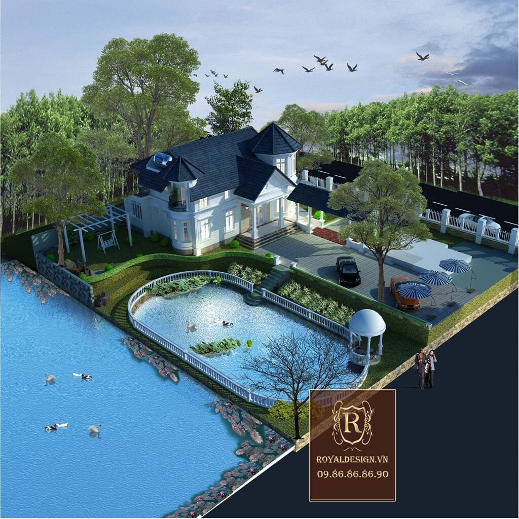 Kiến trúc biệt thự 2 tầng áp mái được thiết kế theo phong cách châu âu nghỉ dưỡng