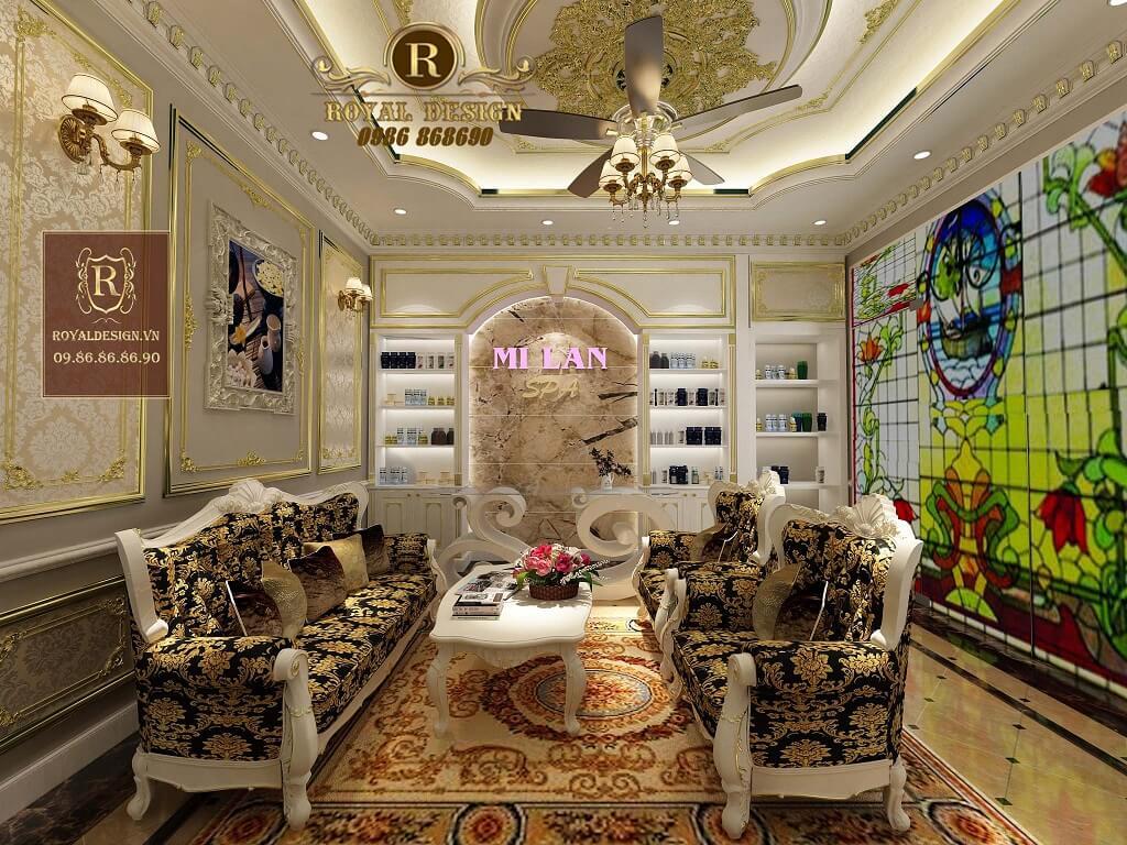 Nội thất tầng 1 của spa Milan theo phong cách tân cổ điển