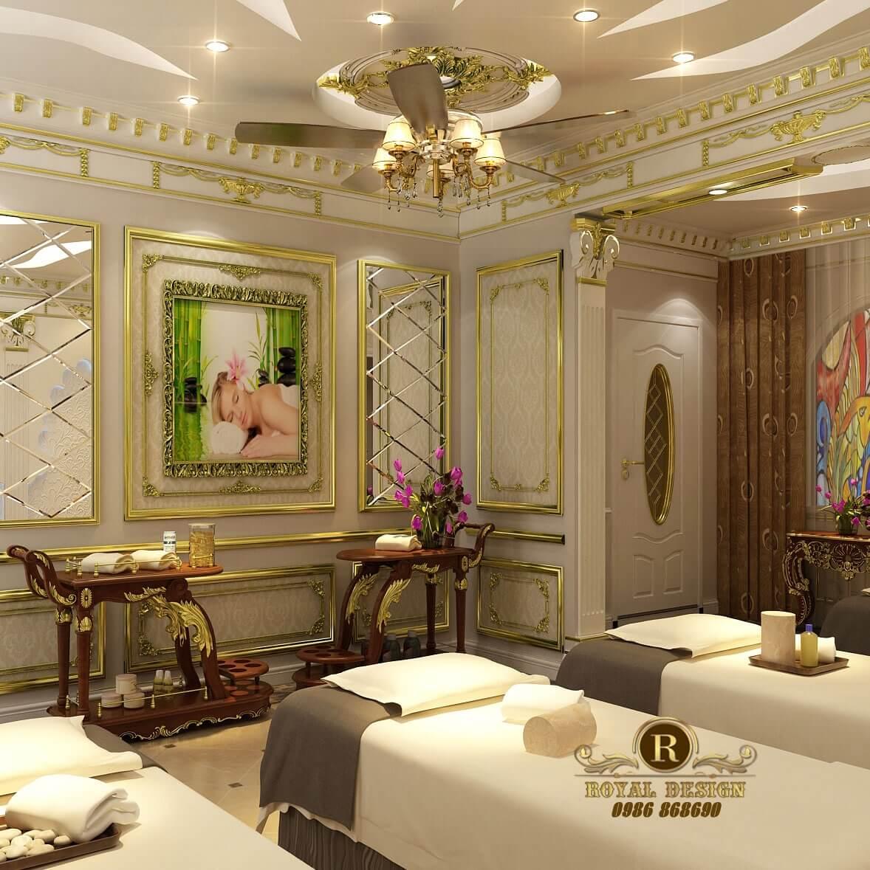 Góc nhìn thiết kế trực diện tường trang trí phòng spa milan