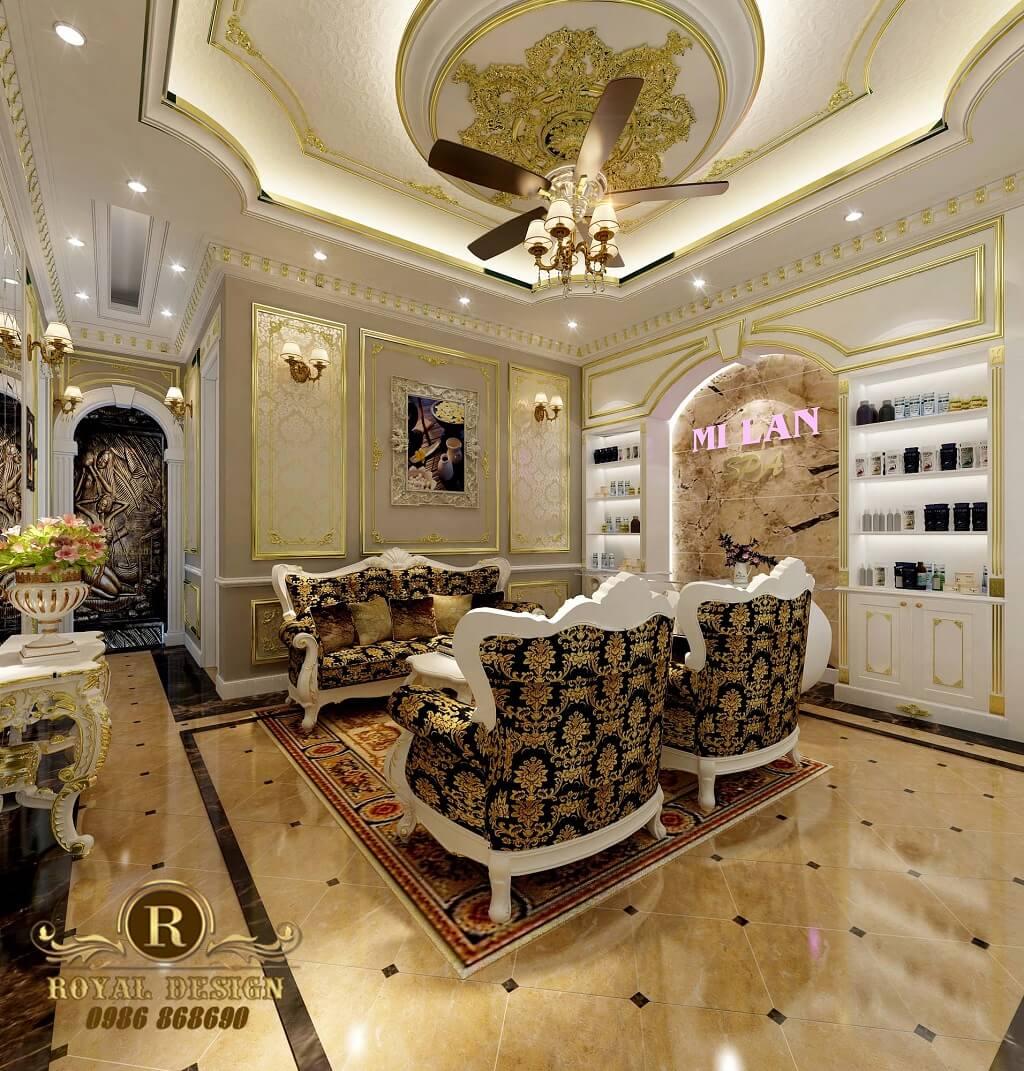 Thiết kế sảnh chính cho spa milan theo phong cách tân cổ điển
