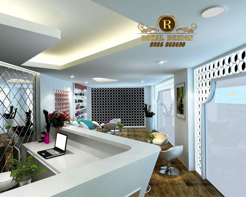 Thiết kế nội thất khu vực tiếp klhachs của spa thẩm mỹ viện sài gòn