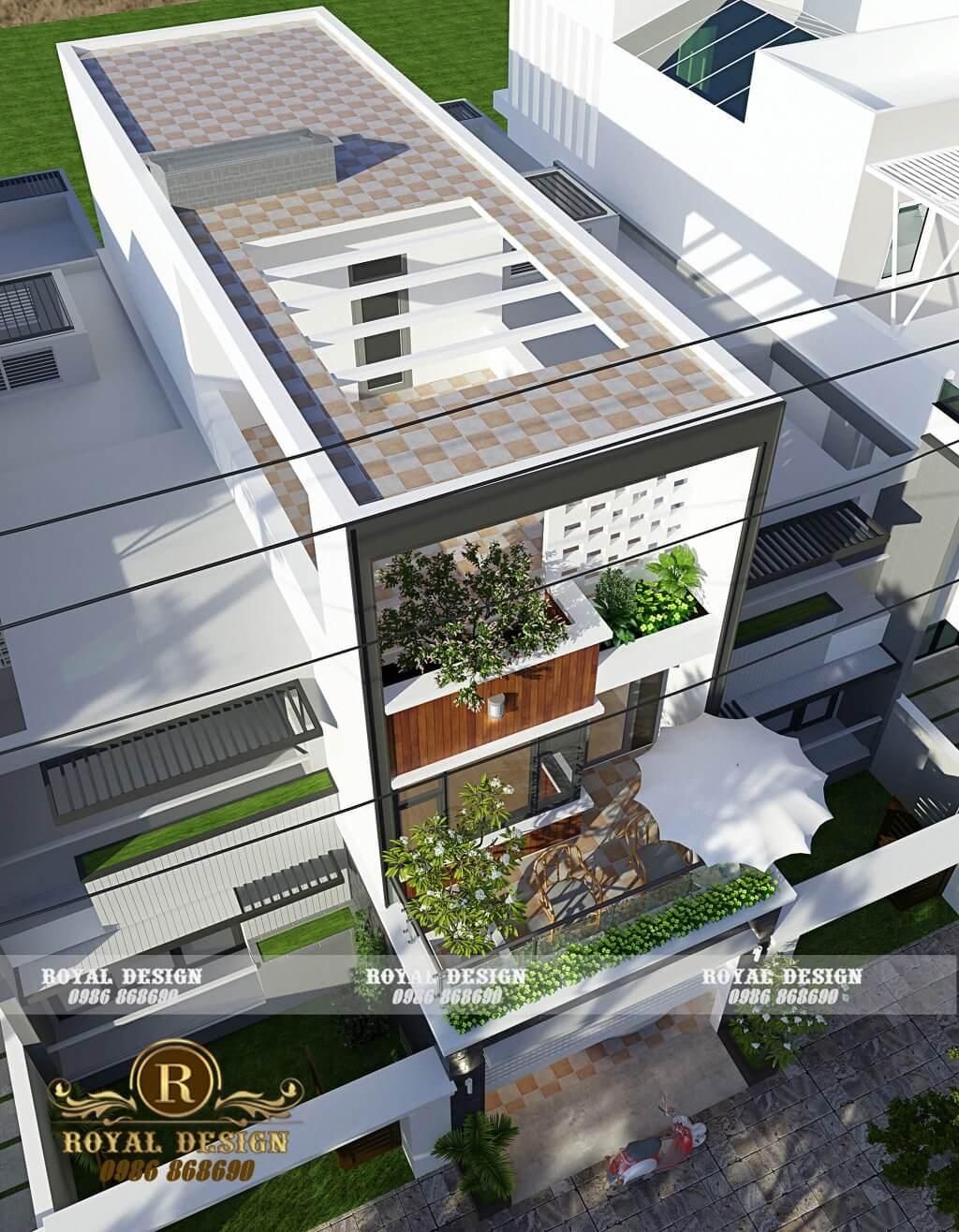 View nhìn từ trên cao xuống nhà phố hiện đại