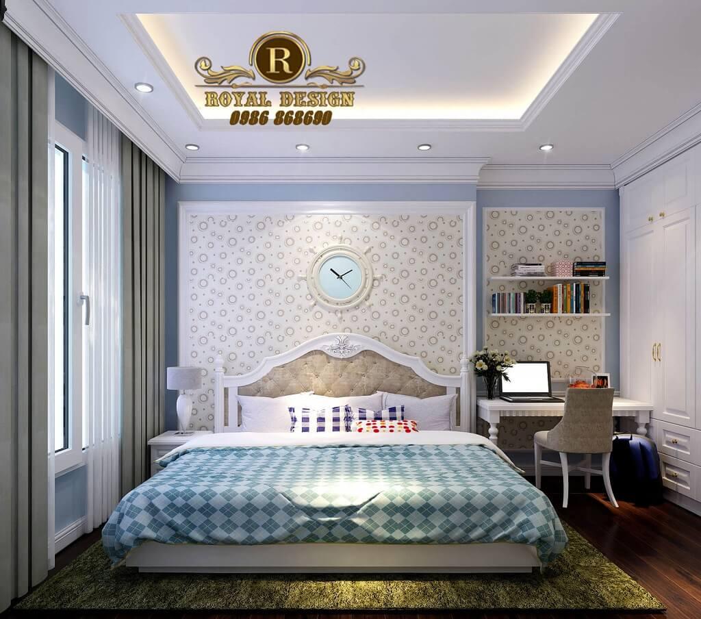 Thiết kế nội thất phòng ngủ bé trai màu xanh