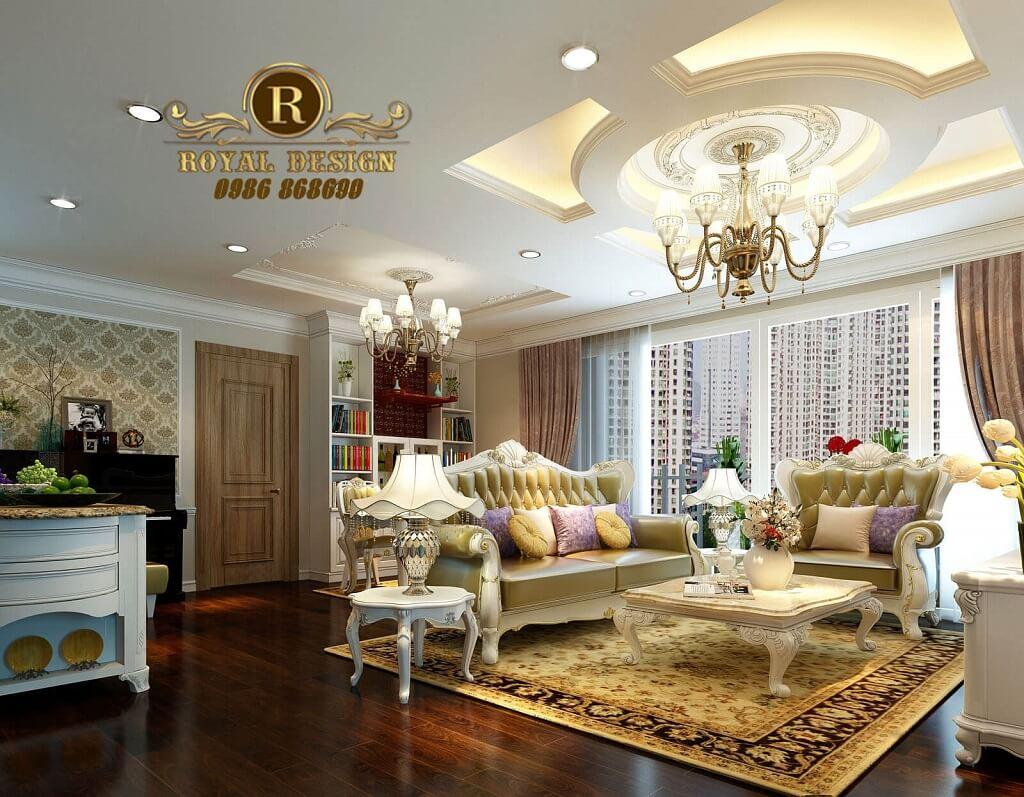 Thiết kế nội thất phòng khách tân cổ điển cho căn hộ 128m2