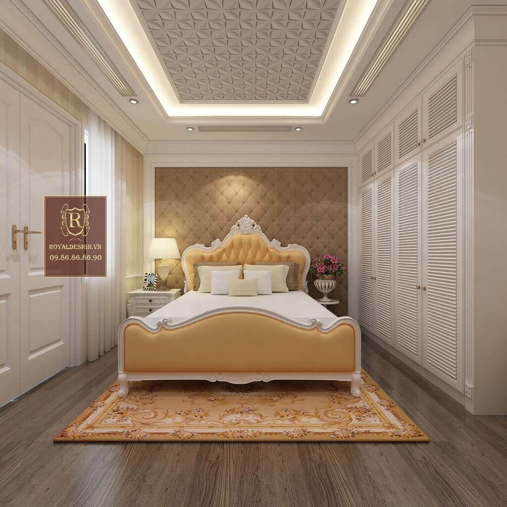 Giường ngủ tân cổ điển bọc da màu cam nhạt