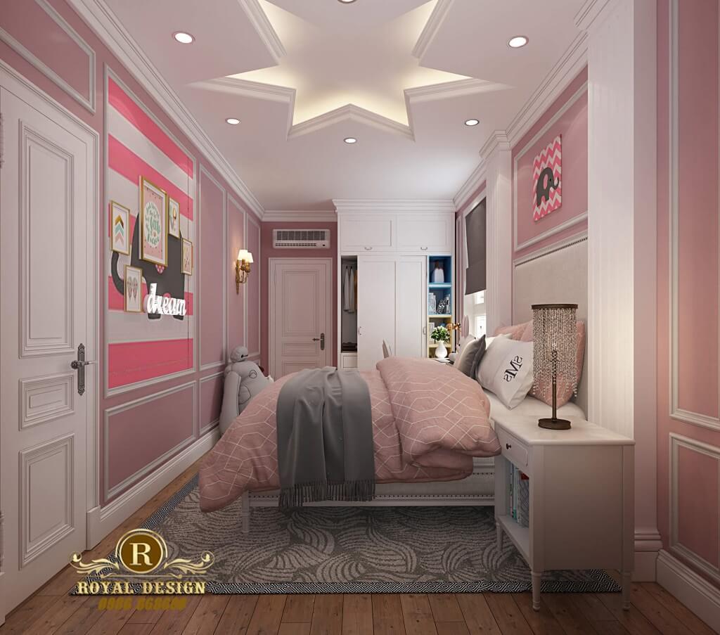 Phòng ngủ con gái màu hồng dễ thương