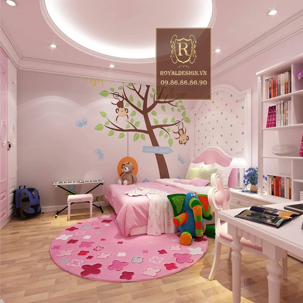Phòng ngủ bé gái màu hồng xinh