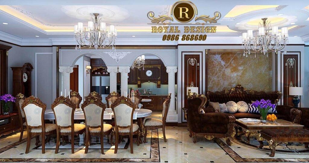 Thiết kế nội thất phòng khách tân cổ điển hoàng gia màu gỗ gõ đỏ cho biệt thự