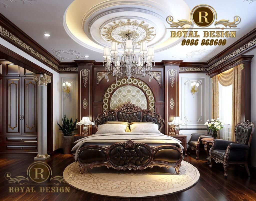 thiết kế nội thất phòng ngủ hoàng gia màu gỗ gõ đỏ cho biệt thự nhà anh tú