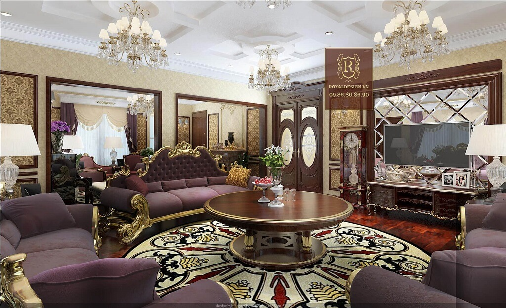 Phối cảnh 3d-01: thiết kế nội thất phòng khách tân cổ điển tầng 3