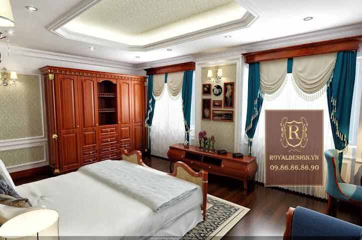 Nội thất phòng ngủ cho con trai được thiết kế đơn giản nhưng vẫn dùng chất liệu gỗ gõ đỏ và họa tiết dát vàng nên rất sang trọng