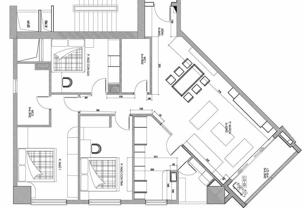 Thiết kế nội thất chung cư tân cổ điển 122m2 - Chị Hoài Anh N04