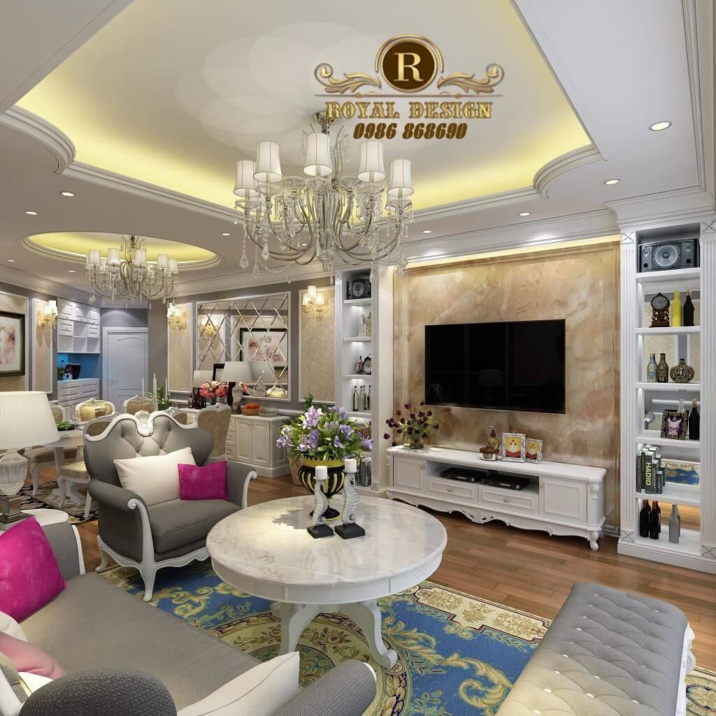 thiết kế nội thất phòng khách chung cư nhà chị hoài anh n04 hoàng đạo thúy