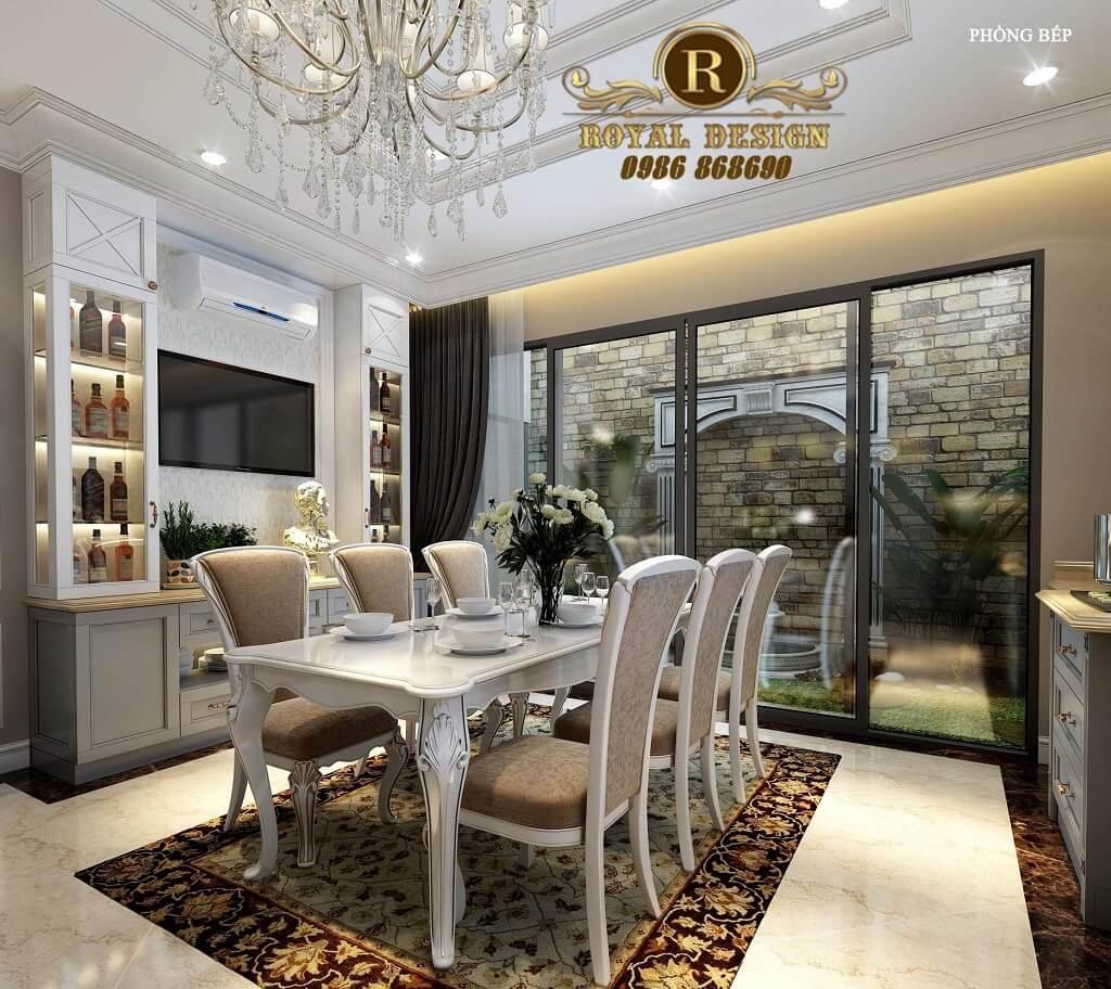 Thiết kế nội thất phòng bếp ăn tân cổ điển châu âu