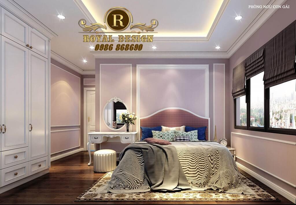 Phòng ngủ con gái màu tím nhạt