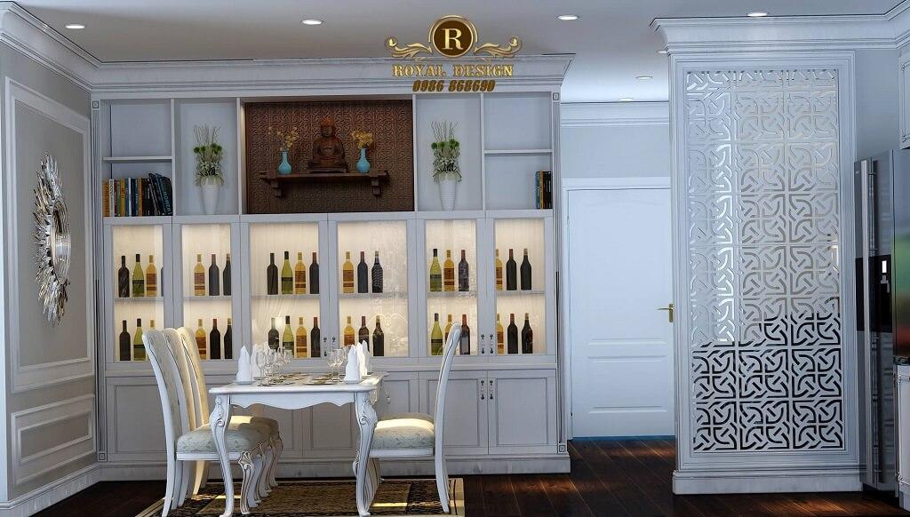 Thiết kế nội thất phòng khách chung cư times city phong cách tân cổ điển màu trắng