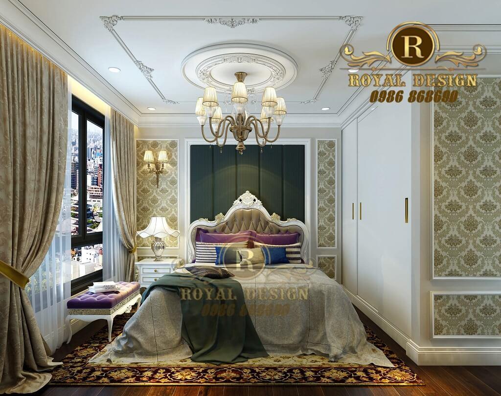 Thiết kế nội thất phòng ngủ chung cư times city phong cách tân cổ điển màu trắng