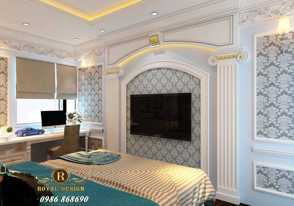nội thất phòng ngủ con trai phong cách tân cổ điển