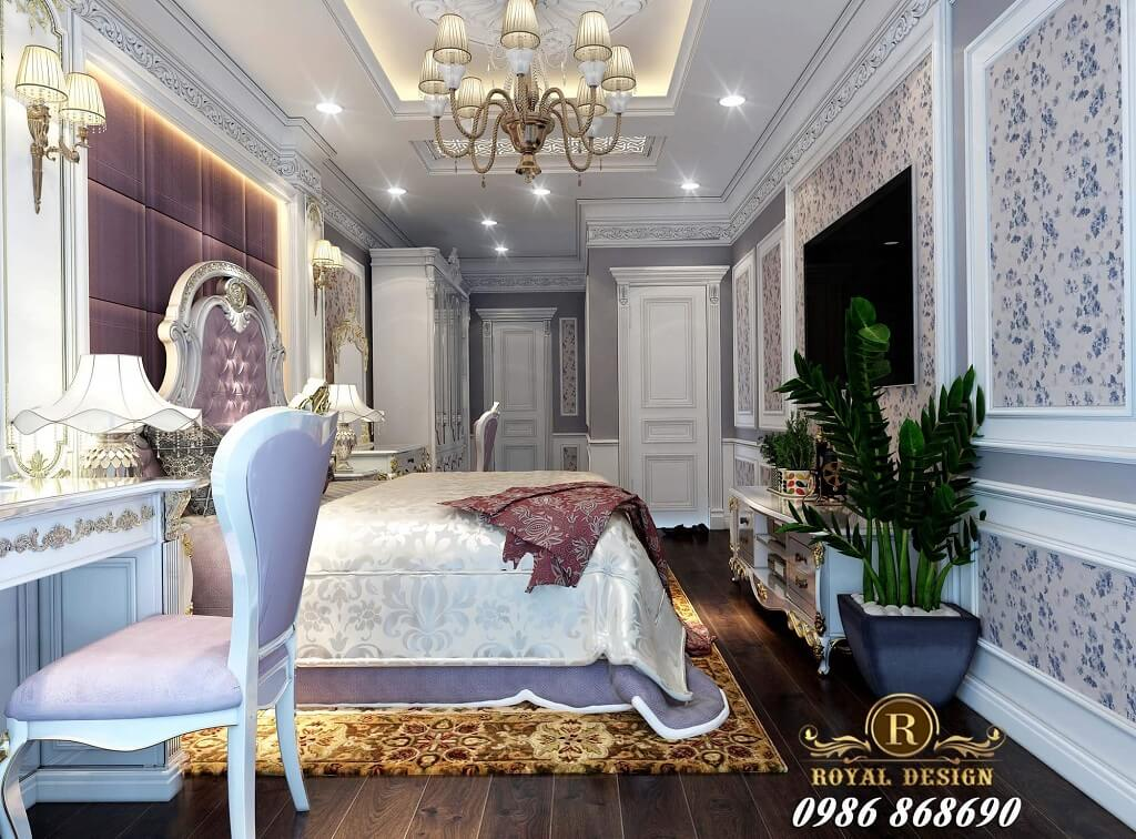 Thiết kế nội thất phòng ngủ tân cổ điển màu tím nhạt