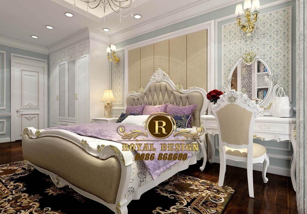 nội thất phòng ngủ master tân cổ điển của căn hộ 100m2 thuộc dự án usilk