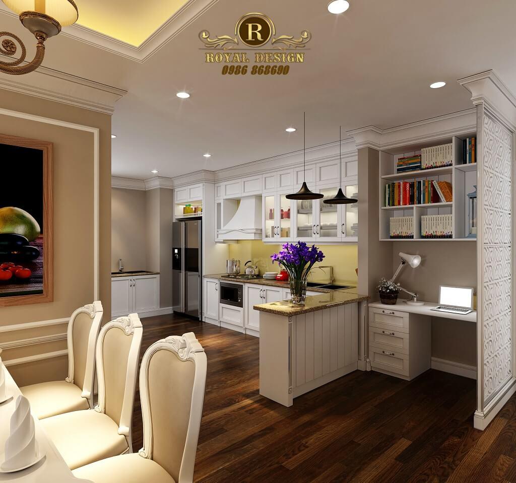 Thiết kế nội thất tân cổ điển khu bếp