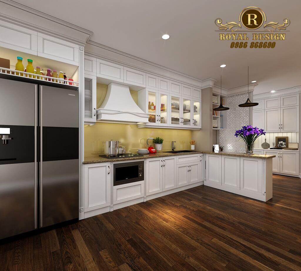 Tủ bếp tân cổ điển châu âu màu trắng