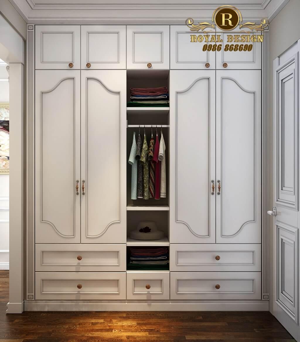 tủ áo phòng thay đồ màu trắng tân cổ điển