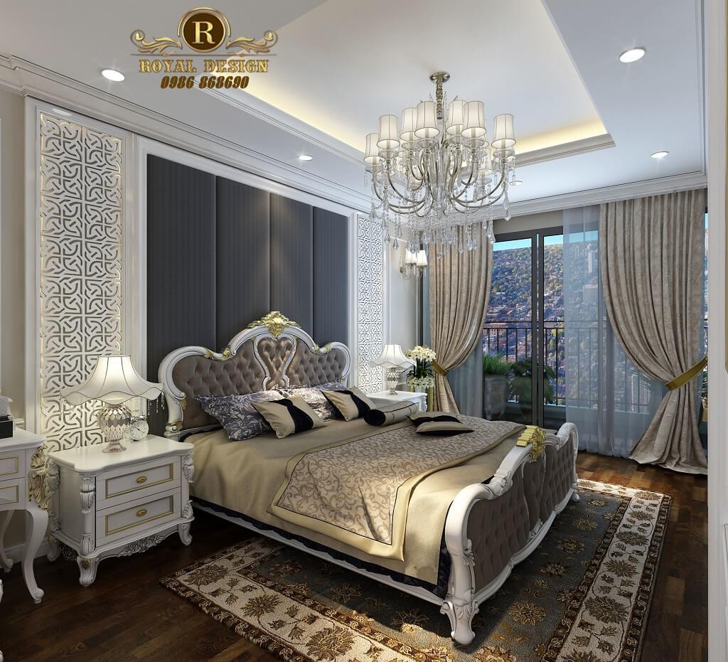 Phòng ngủ tân cổ điển màu trắng Thiết kế nội thất phòng ngủ tân cổ điển màu trắng nhìn ra ban công