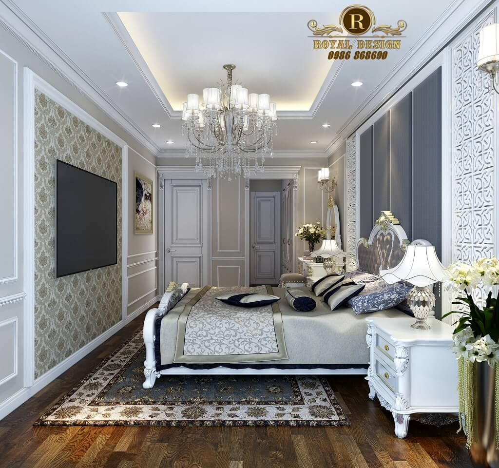 Thiết kế nội thất phòng ngủ tân cổ điển trắmàu ng - view nhìn phòng thay đồ