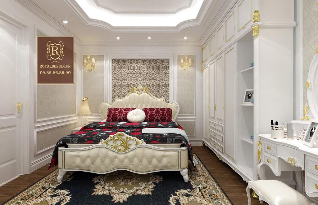 Gường ngủ tân cổ điển màu trắng