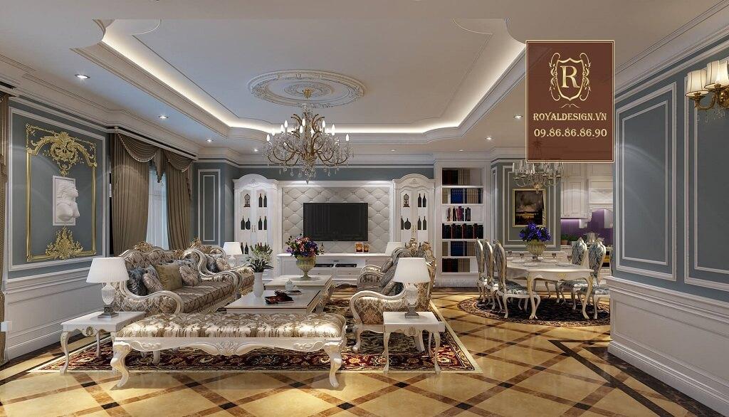 Sofa phòng khách khung gỗ sơn màu trắng ngọc trai bọc nỉ hoa văn nhập khẩu bỉ 1